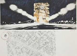 "Christo and Jeanne-Claude (b. 1935) ""Packed Building, Project for Wrapping of the Arc de Triomphe, Paris"""