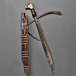 Dayak Knife and Carved Wood Sheath