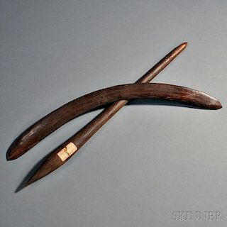 Two Australian Aborigine Carved Wood Items