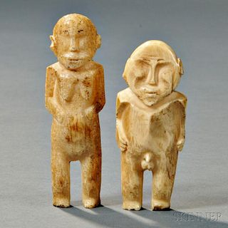 Two Polynesian Bone Figures