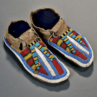 Lakota Beaded Buffalo Hide Moccasins