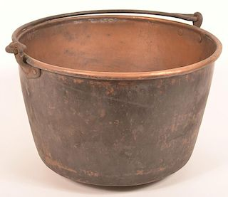 19th Century Small Copper Apple Butter Kettle.