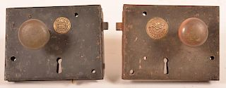 Two Metal Box Locks with Knobs.