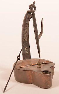 "Peter Derr Betty Lamp Signed ""P.D. 1836""."