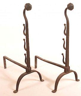 Pair of 19th Century Wrought Iron Andirons.
