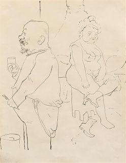 George Grosz, (German, 1893-1959), Man Brushing Teeth