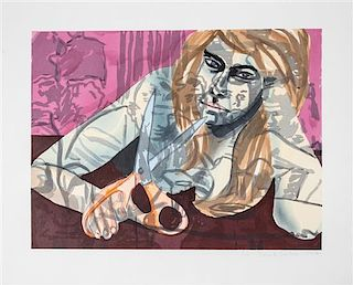 David Salle, (American, b. 1952), Portrait with Scissors and Nightclub, 1987