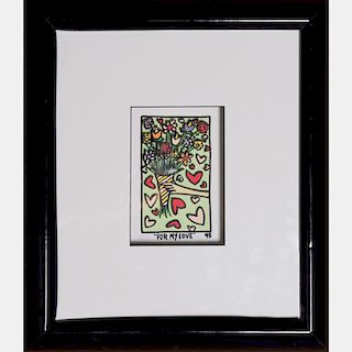 James Rizzi (1950-2011) For My Love, Hand-cut silkscreen with 3D construction,