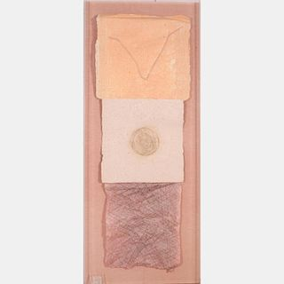 Attributed to David Shapiro (20th Century) Untitled, Laminated and embossed handmade paper mounted on fiber board,