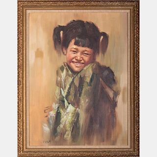 After Lee Man Fong (1913-1988) Portrait of a Young Girl, Oil on canvas,
