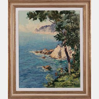 Artist Unknown (20th Century) Coastal Scene, Oil on canvas,