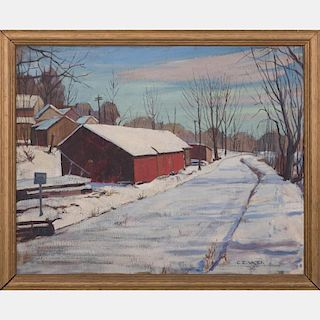 C. E. Vacek (20th Century) Winter Street Scene, Oil on canvas,