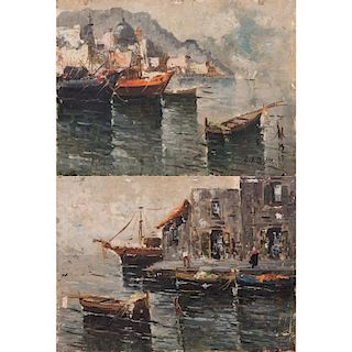 Artist Unknown (20th Century) Napoli and S. Felic Circeo, Oil on boards,
