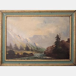 Artist Unknown (19th/20th Century) River Scene with Mountains, Oil on canvas,