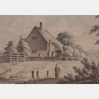 English School (19th Century) Cottage Scene with Figures, Watercolor on laid paper,