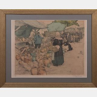 Tavic Frantisek Simon (1877-1942) Market Scene, Colored etching,