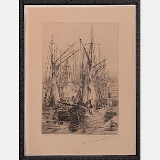 Charles Pinet (1867-1932) St. Tropez le Port, Etching,
