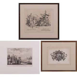 A Group of Three Engravings, 19th/20th Century,
