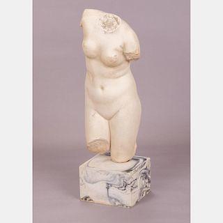 A Cast Stone Aphrodite Torso, 20th Century,