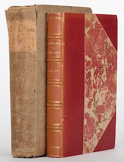 Ashton, John. Two Antiquarian Volumes on Gambling in England. Including History of Gambling in England (London, 1898), in a contemporary three-quarter