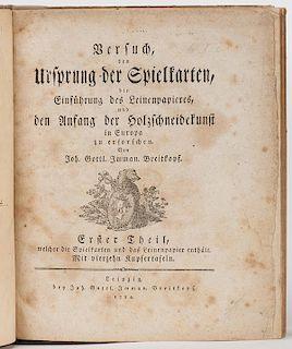 Breitkopf, [Johann Gottlob] Imman. Versuch den Ursprung der Spielkarten, die EinfÙhrung des Leinenpapieres, und den Anfang der Holzschneidekunst in E