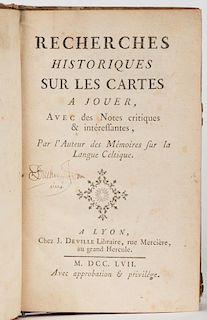 Bullet, Jean Baptiste. Recherches Historiques sur les Cartes a Jouer. Lyon