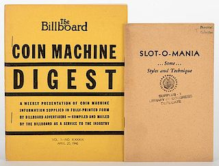 [Coin-Op] Two Booklets on Slots and Coin Machines. Including ñSlot-O-Maniaî (ca. 1939) by Trump, illus. by Myers, ex-libris Library of Congress Pamp
