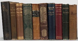 [Crime] Shelf of 10 Nineteenth Century Books on Crime and Fraud. Including Twenty-Five Years of Detective Life (1895) by Caminada