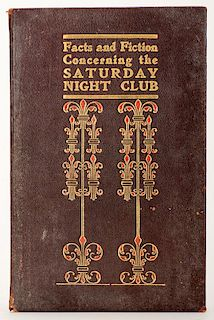 [Euchre] Facts and Fiction Concerning the Saturday Night Club. Hoboken, 1905. PublisherÍs leatherette covers stamped decoratively in red and gilt. Al