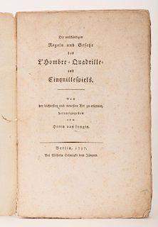 [Gaming _ Ombre] Longin, C.G. von. Die Vollst_ndigen Regeln und Gesetze des L'Hombre-Quadrille- und Cinquillespiels. Berlin, 1797. Contemporary plain