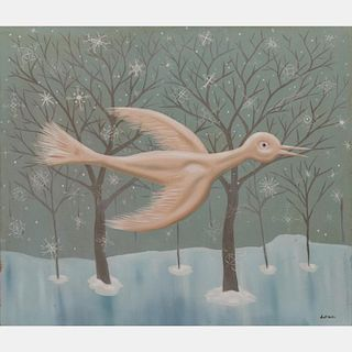 Scott Miller (1955-2008) Snow Bird, Oil on canvas,