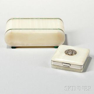 Two English Sterling Silver-mounted Onyx Boxes