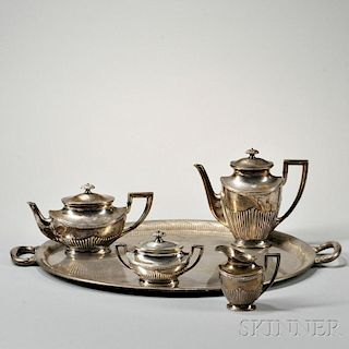 Four-piece Sterling Silver Tea and Coffee Service with Associated Nickel Silver Tray