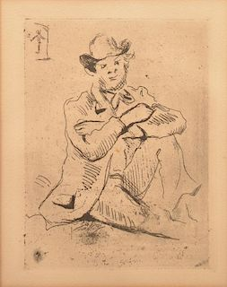 Paul Cezanne Etching of Armand Guillaumin.