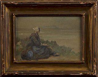 "David Adolph Artz (1837-1890, Dutch), ""Girl Seated"