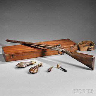 Cased English Westley Richards Twelve-gauge Percussion Shotgun
