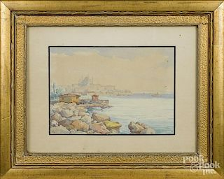 Watercolor, in the manner of Paul Signac, depicting the port of Marseilles, 7 3/4'' x 11''.