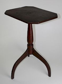 New England spider leg candle stand in old red surface with simulated yellow painted inlay