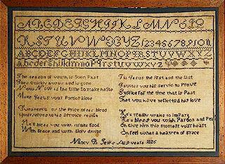 "1826 Nancy B Jenks New England sampler with verse, 11"" x 17.5"""
