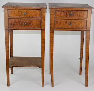 """pr of 19th c Hepplewhite curly maple 2 drawer stands, one missing lower shelf. 14""""w top 28""""h."""
