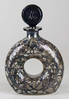 """Victorian all-over sterling silver overlay ring form novelty decanter engraved """"1904"""" 9.5"""" x 6"""""""