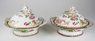 """pr of Minton covered vegetable dishes, one leaf on handle cracked, dia 9"""""""
