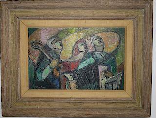 "Lena Gurr (Am 1897-1992) Three Musicians o/b signed lower left 10 x 16"""