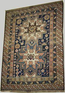 "late 19th c Kazak 2 medallion area rug, areas of uneven wear, 3' 2"" x 4' 2"" late 19th c Kazak 2 meda"