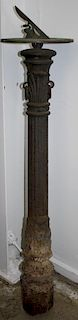 """19th c cast iron hitching post w/ brass sundial attached to top, cast iron ht 42"""", overall ht 48""""19t"""