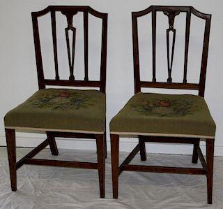 pr of Baltimore, MD mahogany vase back Hepplewhite chairs. See p. 136 Southern Furniture.  Circa 180