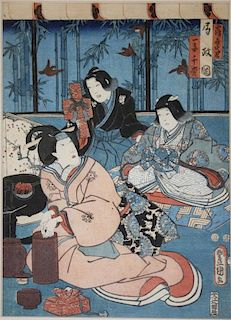 "19th c Japanese ukiyo-e woodblock print signed, 13"" x 9.5"""