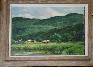 """Fred M Hines( Vermont/Maine 20th c ) Farm Scene o/b 9 x 12"""" signed lower right"""