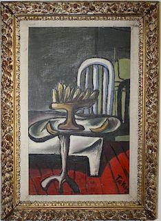 "Vassilakis Takis (Greek 1925-) Interior with Bananas 19 x 12"" o/c"