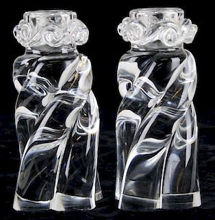 """pair of signed Baccarat crystal """"Alladin Swirl"""" candlesticks 6"""" x 3"""""""